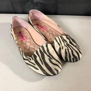 Betsey Johnson Brritney Zebra Print Flats